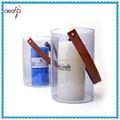 Novo estilo alça de couro resistente ao calor feitas à mão vidro lanterna de suspensão suporte de vela de vidro