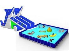 2015 New water park portable inflatable double lane slip slide
