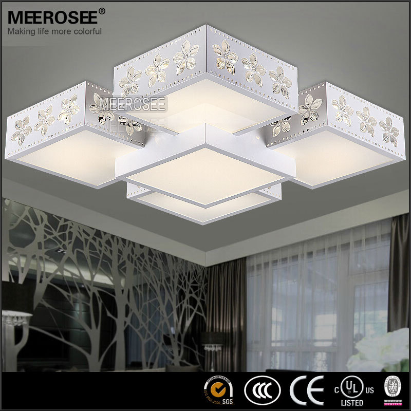 Pas cher gros rectangle led plafonnier moderne fleur impression lumi re pour - Grand lustre pas cher ...