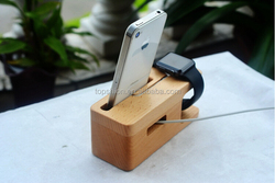 2015 hot selling for apple watch charging stand, for apple watch stand wood, 2 in 1 stand holder for iPhone 6