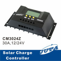 30A 12V/24V PWM Solar Controller with LCD Display for 1000W Home System, CM30 controller