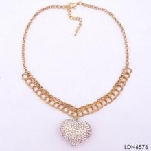 2014 tiny graceful shine double gold chain necklace carved love shape pendant necklace paved Studded diamond china photo factory