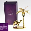 24K Gold Plated Decorative Rose Round With Coconut Tree Stand And Swarovski Crystal