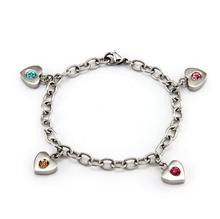 Silver Plating 4 Stone Family Of Heart Custom Birthstone,Charm Stone Bracelets Gift For Mother