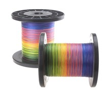 2015 new arrival Multifilament rainbow color pe braided fishing line 8 strands 1000 meters braided wire line