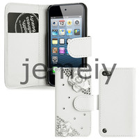 3D Diamond Flower Leather Flip Wallet Case Cover for Apple iPod Touch 5