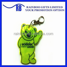 High quality hot selling safety cloth shape Pvc soft reflective pendant with keychain for promotion