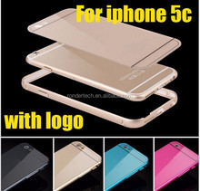 High quality Metal Aluminum Frame + arcylic Back cover Case for iPhone 5C Arc-shaped Hybrid Cover for iphone5c