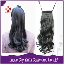 High Quality Synthetic Wrap Around Ponytail Curl Wavy Clip In On visible Ribbon HairPiece Pop Pony