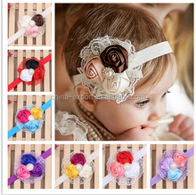 JPHAIR150307 hot sale 2015 European designs rose lace beads Baby Girl Headbands