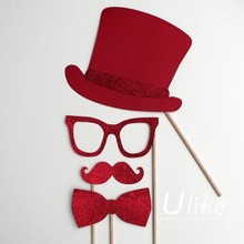 new *diy photo props mustache lip glassses with stick/used for birthday weding & everyday party