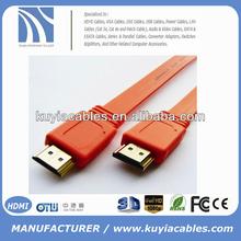 New design orange 5M Flat HDMI Cable 1.4v 1080p Ethernet 3D for HDTV PS3 XBOX