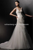HT904 Sexy V-neck open back tulle and appliqued fishtail wedding dresses