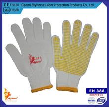 13 gauge yellow nylon glove with pvc dots
