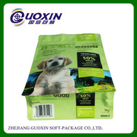 pet food packing square bottom plastic bag with recloseable zipper