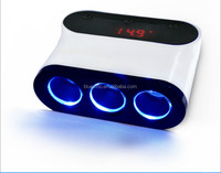 Car Cigarette Lighter 3 Way Auto Socket Splitter 12V Charger Power Adapter PlugDC 12V USB LED light Control Black 120W