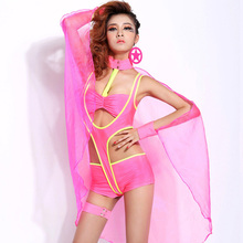 dancer costumes fluorescence dance dress color collar hip hop dance costume lead dancer clothing with wings