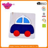 Popular Education Take Apart Mini Block Wood Cartoon Toy Pull Slippery Car Park Puzzle And Jigsaw Vehicles