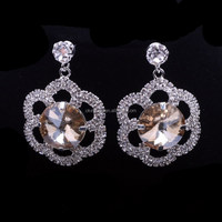 E269 Fashion Crystal Earring Wedding Jewelry Luxurious Silver Crystal Earrings for Women Big Earrings Christmas Gift