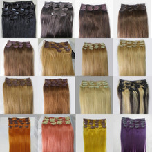 Premium fiber compatible with 100% human hair ,cheap price 50% discount cheap raw remy 28 inch clip on human hair extensions