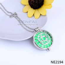 Latest best selling wholesale silver color zinc alloy round shaped glow necklace