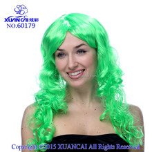 2015 New Arrival Hot sale cheap synthetic green curly long hair wig
