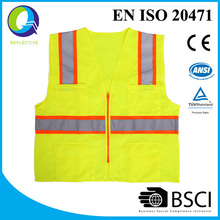 ANSI standard green high visibility vest with reflective tape ,safety vest with pocket---One day Delay in delivery Refunds 0.5%