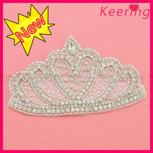 2014 Wholesale fashion crown design bridal rhinestone bridal applique