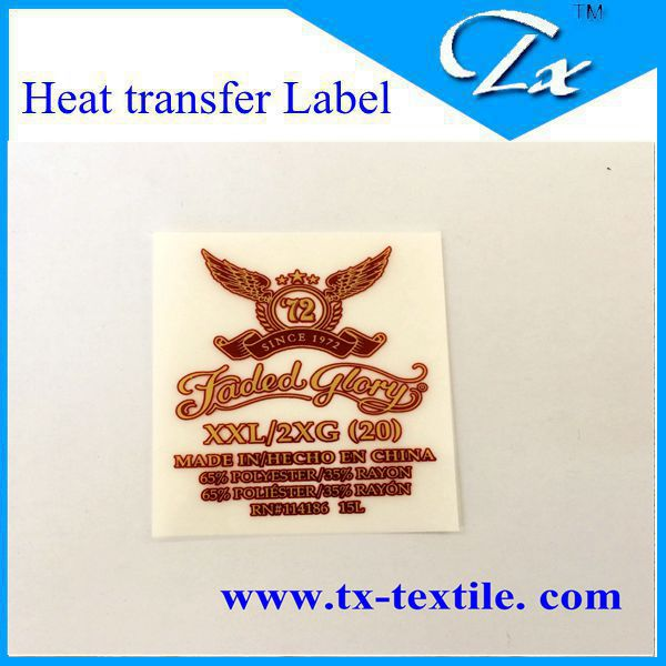 Iron on clothing heat transfer film label with best for Heat press shirt labels