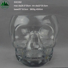 4500ml Large Big Giant Skull Glass Ice Bucket and Tongs