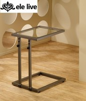 Adjustable modern snack table copper finish with glass top