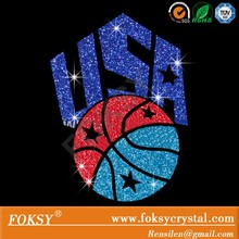 USA basketball motif fashion accessories for clothing in glitter vinyl