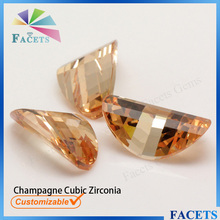 FACETS Gems Rough Cubic Zirconia Checker Saddle Shaped Champagne Zircon Prices Wholesale
