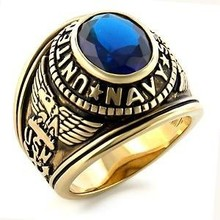 Engraving stainless steel Army Military Ring with Blue Stone