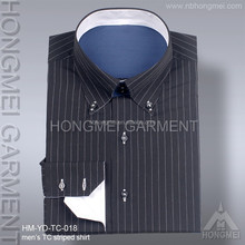2015 lastest mens long sleeve TC stripe shirt bulk mens formal shirt button down collar
