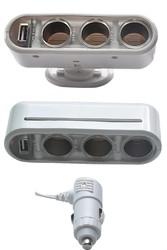 usb adapter car cigarette lighter socket adapter 3 way plug socket usb outlet dc charger power