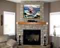 fortes ondas do mar e barco de pintura a óleo arte da parede imagem para decoração
