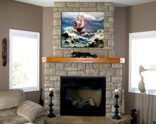 Strong ocean waves and boat oil painting wall art picture for decoration