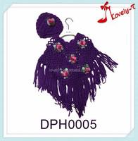 2015 New fashion Cloths girls crochet Knitting flower embroidery kids knit poncho shawl with hood