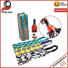 Custom Printing Reusable Cotton Canvas Wine Tote Bottle Bag