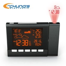 Wireless projection clock with weather information and color changing display