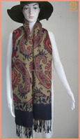 2015 Winter Lady Fashion Soft Paisley Knitted Blanket Scarf Acrylic Cape Wrap with tassel fringe