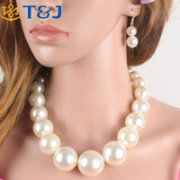 s<<<Big Pearl Necklace New Fashion Necklace Classic Chunky Pearl Beads Choker Jewelry For Women With Earring/