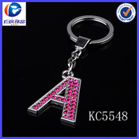 Metal Letter Initial Name Red Crystal A Alphabet Key Ring