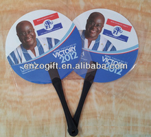 election promotional items, election PP fans, round hand fan with long handle