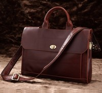 7166C Genuine Cow Leather Men's Hand Briefcases Bag Red Brown Dispatch Case