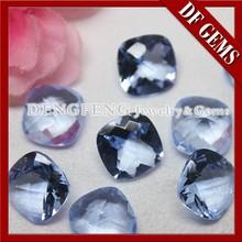 Single Checker Cut Cushion Blue Hydrothermal Gemstone
