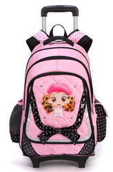 2015 New Style Pink Kid Trolley School Bag For Girls