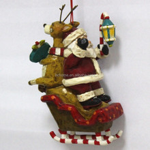 2015 New 3D Resin Christmas ornement santa claus with sleigh
