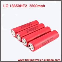100% authentic lg 18650 li ion rechargeable battery 35amp 2500mah lg he2 18650 battery